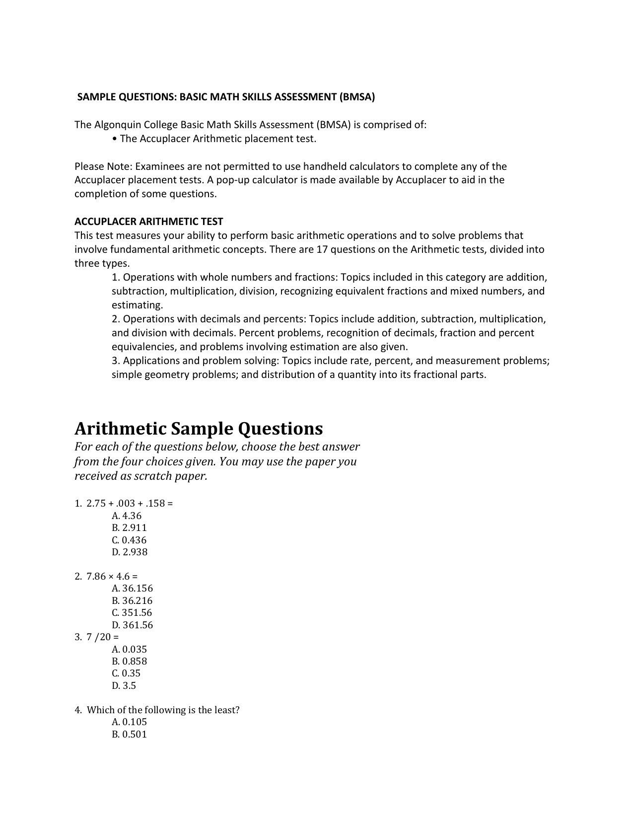 Arithmetic Sample Questions