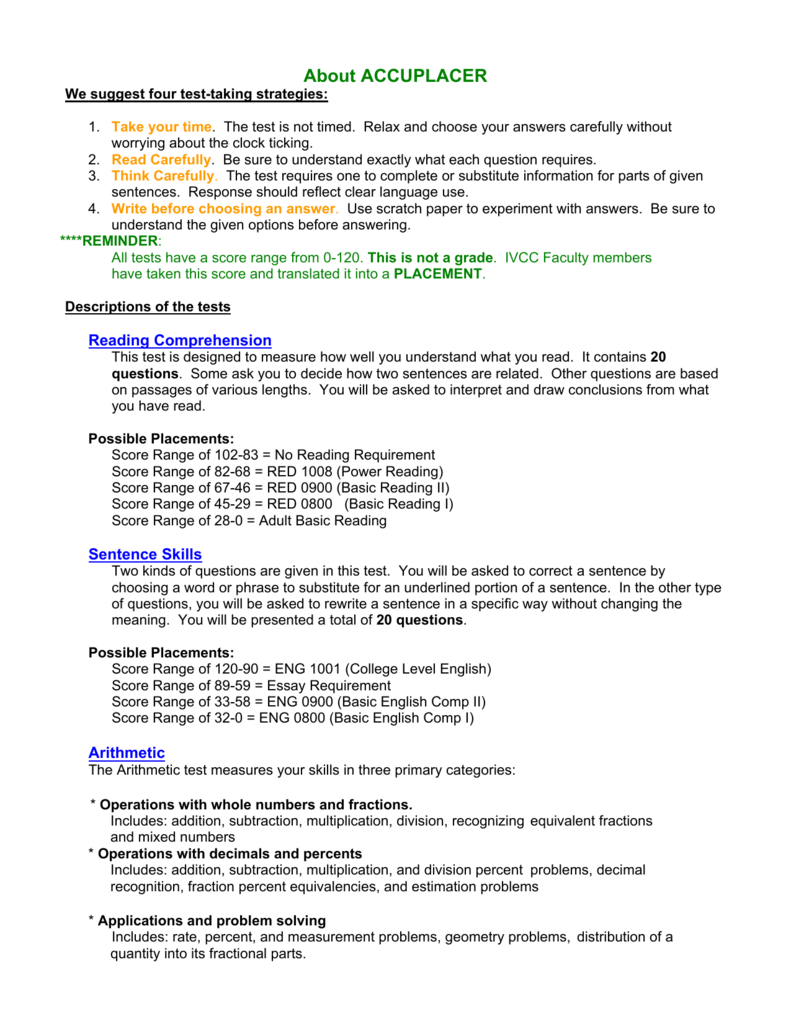 Placement Test Info