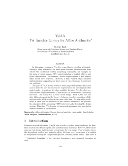 Stefan Kiel, YalAA: Yet Another Library for Affine Arithmetic, pp. 114