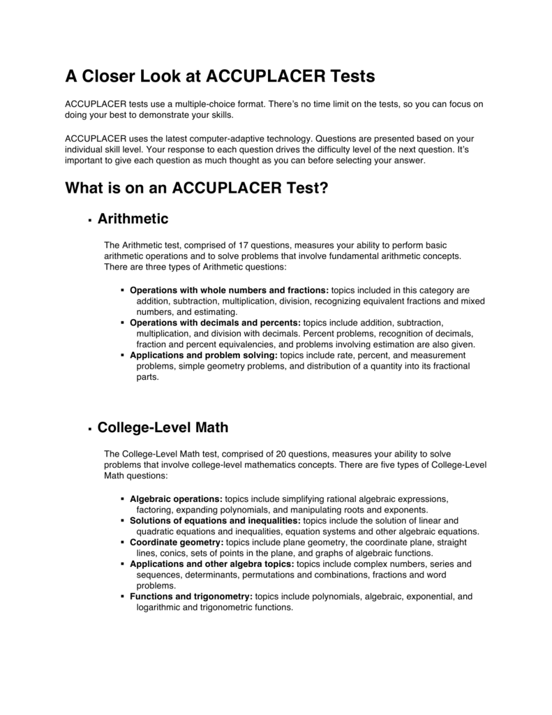 A Closer Look at ACCUPLACER Tests