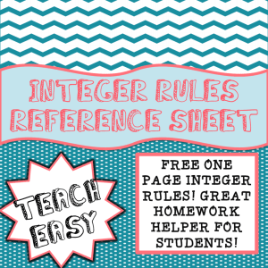 INTEGER RULES REFERENCE SHEET