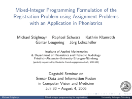 Mixed-Integer Programming Formulation of the Registration Problem