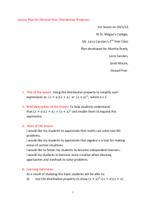 Lesson Plan for [Second Year, Distributive Property] For lesson on
