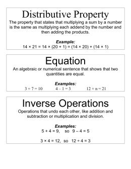 Distributive Property Equation Inverse Operations