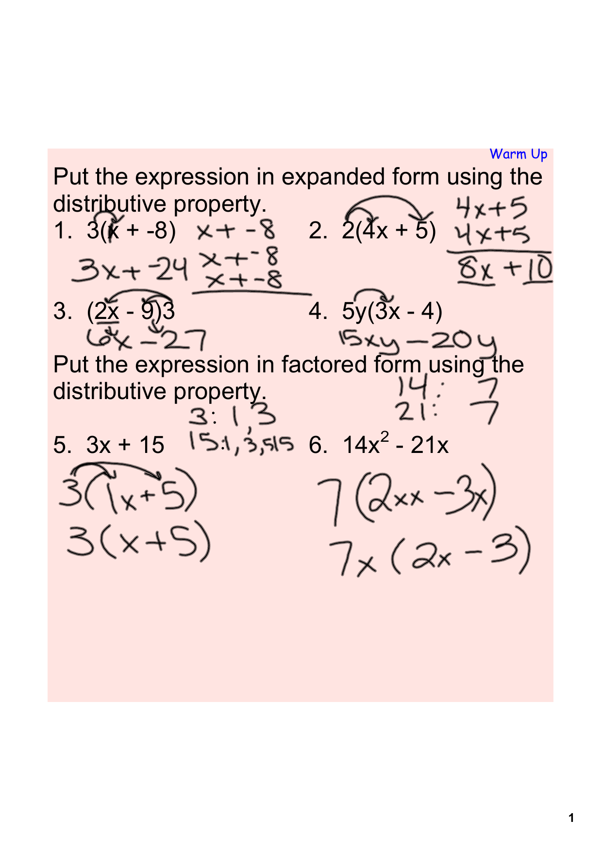 Put The Expression In Expanded Form Using The Distributive Property
