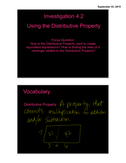 Investigation 4.2 Using the Distributive Property Vocabulary