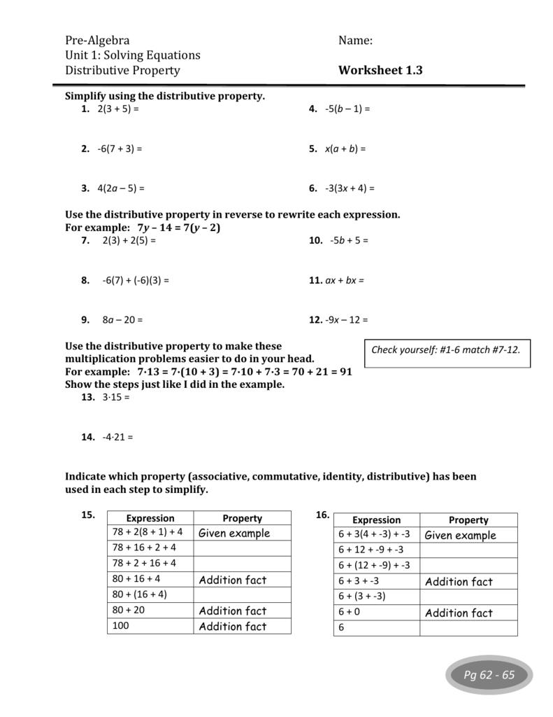 100 Algebra 1 Distributive Property Worksheet – Algebra 1 Solving Equations Worksheet