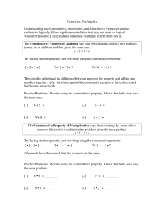 Properties: PreAlgebra Understanding the Commutative, Associative