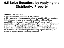 9.5 Solve Equations by Applying the Distributive Property