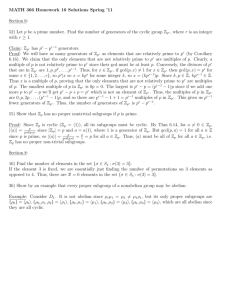 MATH 366 Homework 10 Solutions Spring `11 Section 6: 52) Let p