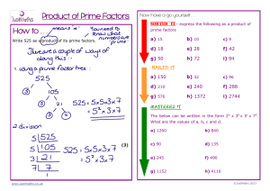 How to . . . Product of Prime Factors