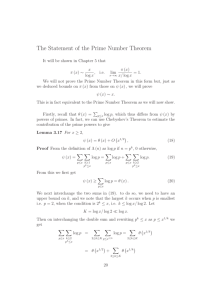 The Statement of the Prime Number Theorem