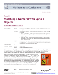 Matching 1 Numeral with up to 3 Objects
