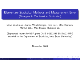 Elementary Statistical Methods and Measurement Error