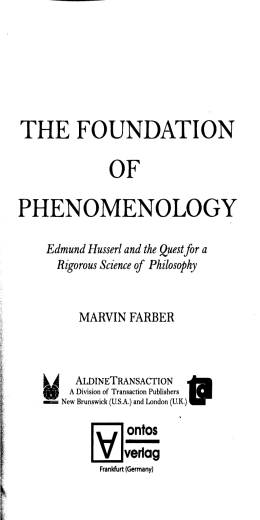 THE FOUNDATION OF PHENOMENOLOGY