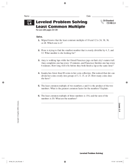 Leveled Problem Solving Least Common Multiple