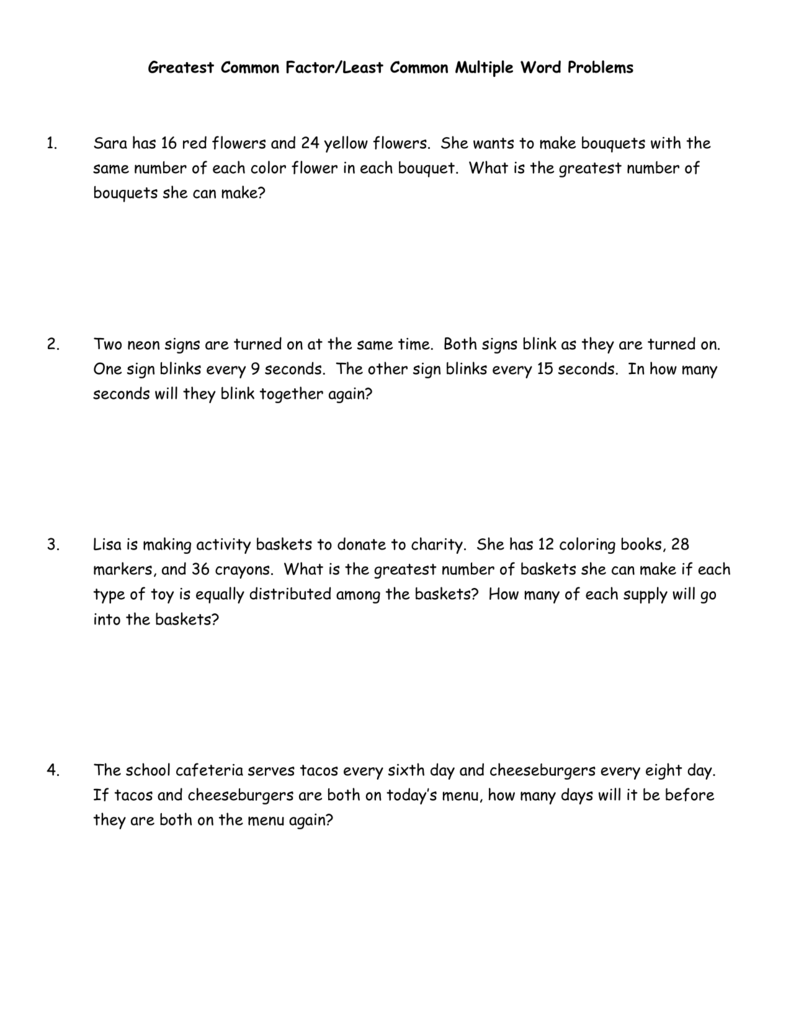 Greatest Common FactorLeast Common Multiple Word Problems 1 – Gcf Worksheets 6th Grade