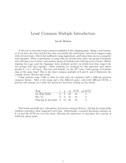 Least Common Multiple Introduction