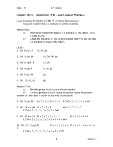 Chapter Three – Section One (3-1) Least Common Multiples Least
