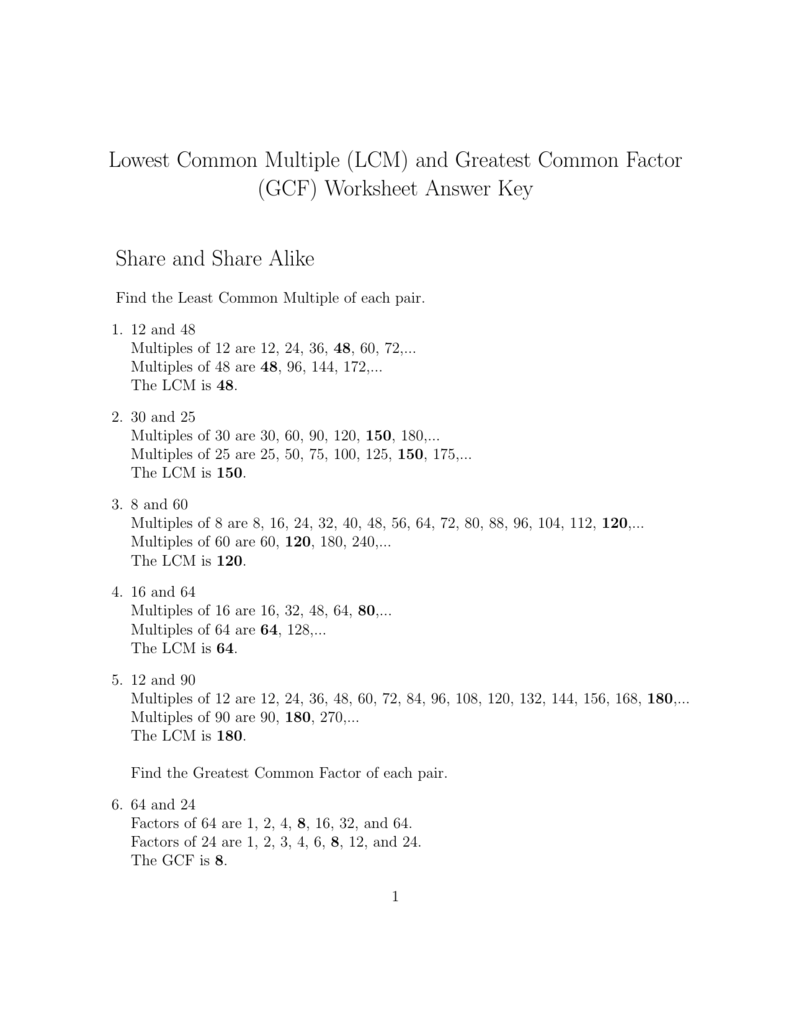 Lowest Common Multiple LCM and Greatest Common Factor GCF – Greatest Common Factors Worksheet