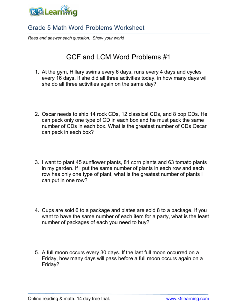 GCF and LCM Word Problems #1