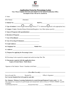 Application Form for Percentage Letter