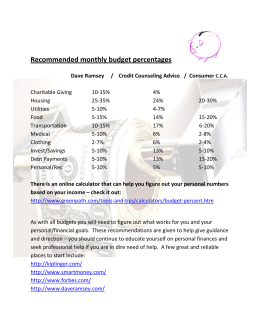 Recommended monthly budget percentages