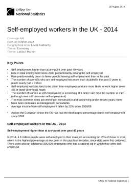 Self-employed workers in the UK - 2014