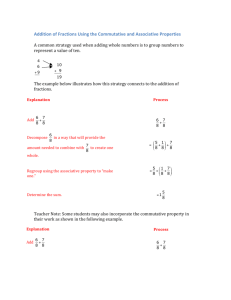 Addition of Fractions Using the Commutative and Associative
