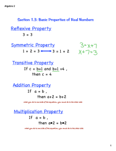 Reflexive Property Symmetric Property Transitive Property Addition