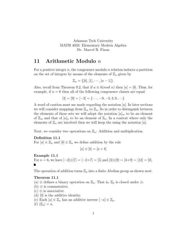 11 Arithmetic Modulo n - Arkansas Tech University