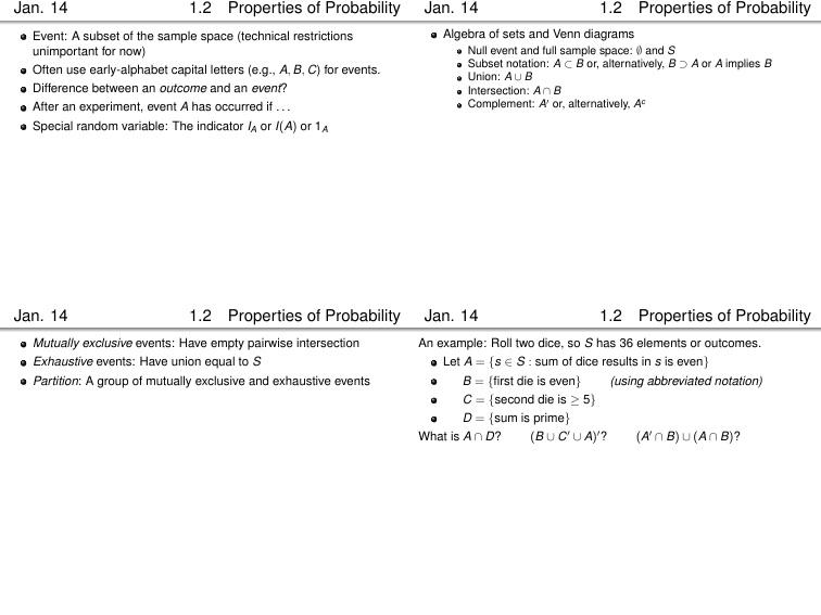 Jan 14 1 2 Properties Of Probability Jan 14 1 2 Properties Of