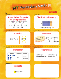 operations expression evaluate equation Distributive Property