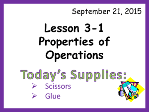 Lesson 3-1 Properties of Operations