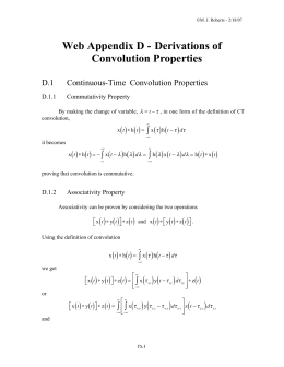 Web Appendix D - Derivations of Convolution Properties
