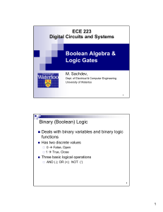Boolean Algebra & Logic Gates - Electrical and Computer Engineering