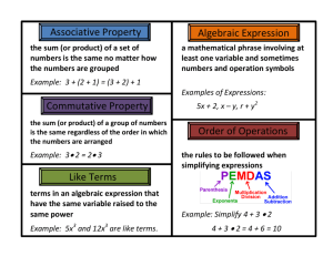 Algebraic Expression Like Terms Associative Property Commutative