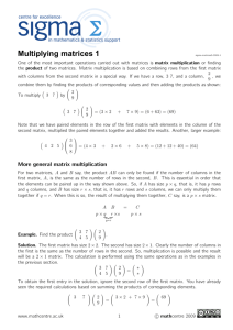 Multiplying Matrices 1 (Mathcentre)