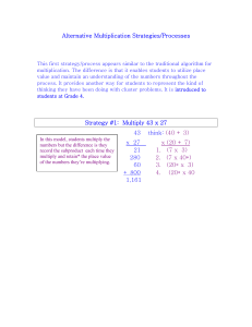 Alternative Multiplication Strategies/Processes