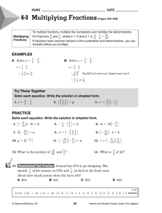 6-3 Multiplying Fractions