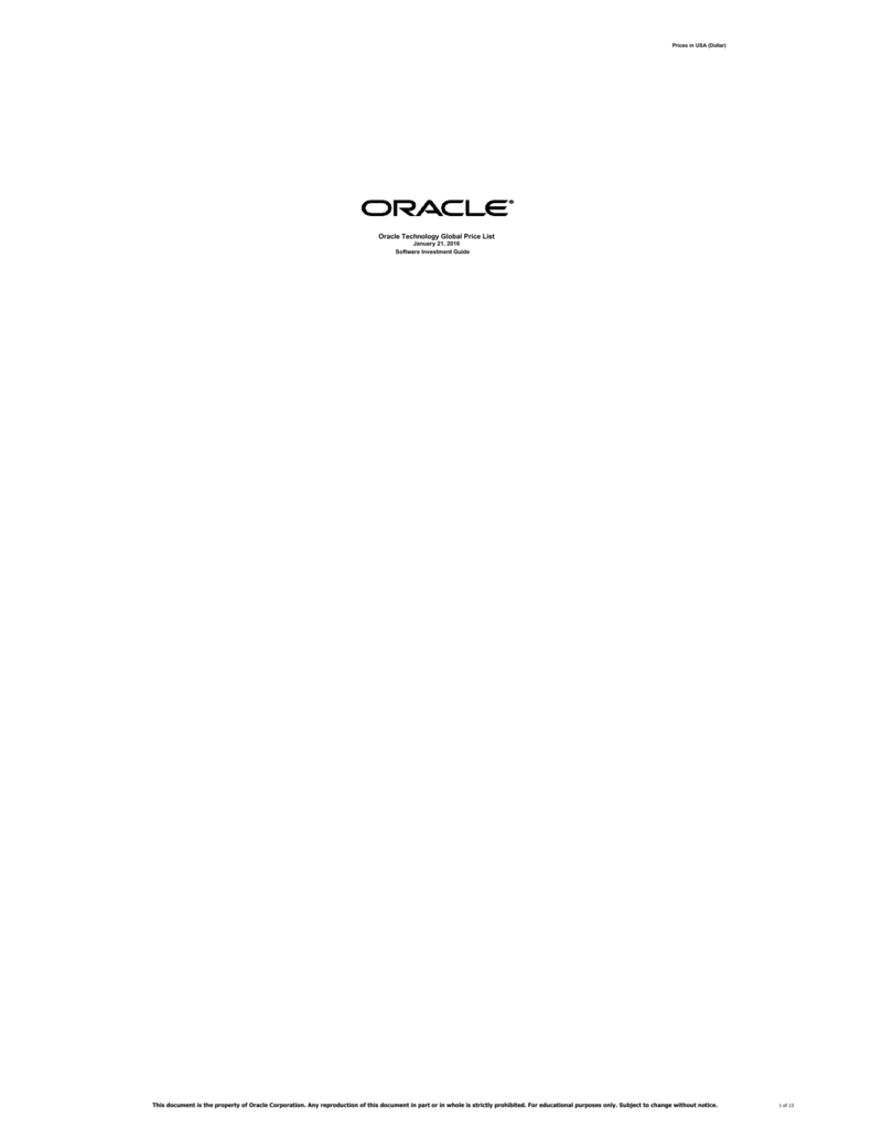 oracle technology global price list