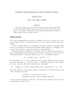Galois representations and modular forms