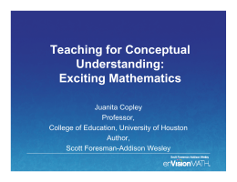 Teaching for Conceptual Understanding: Exciting Mathematics