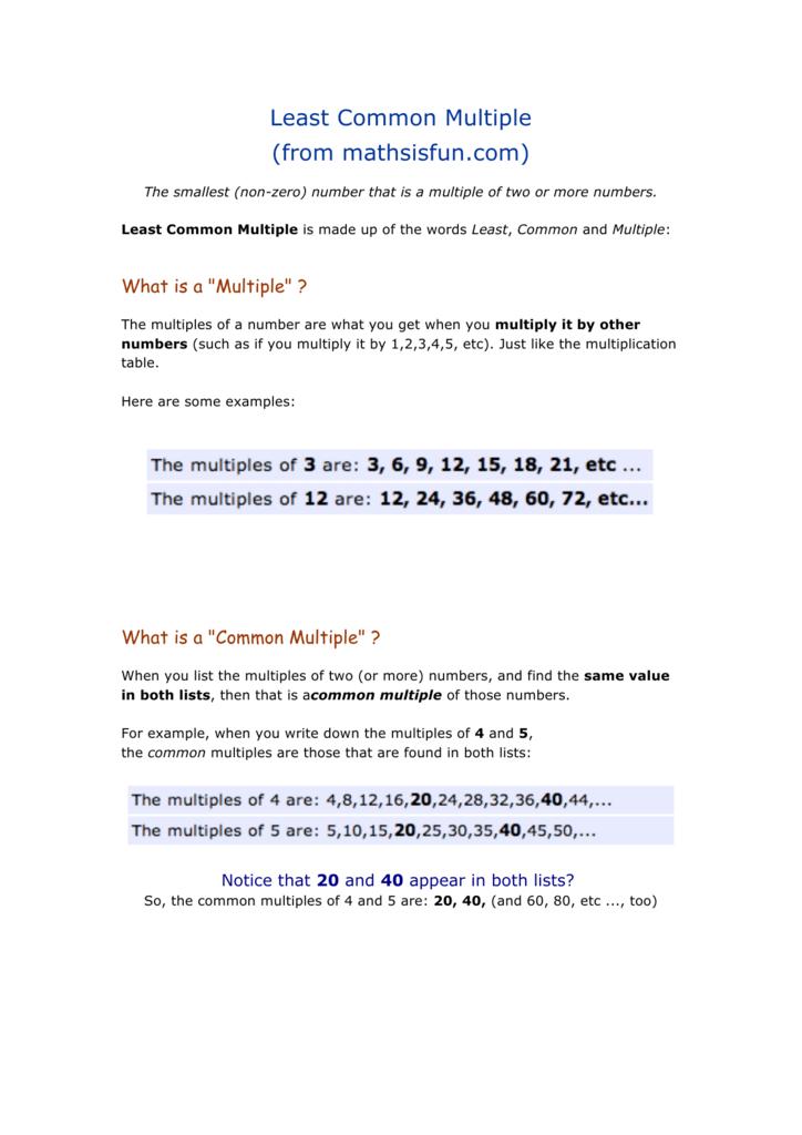 Least Common Multiple From Mathsisfun