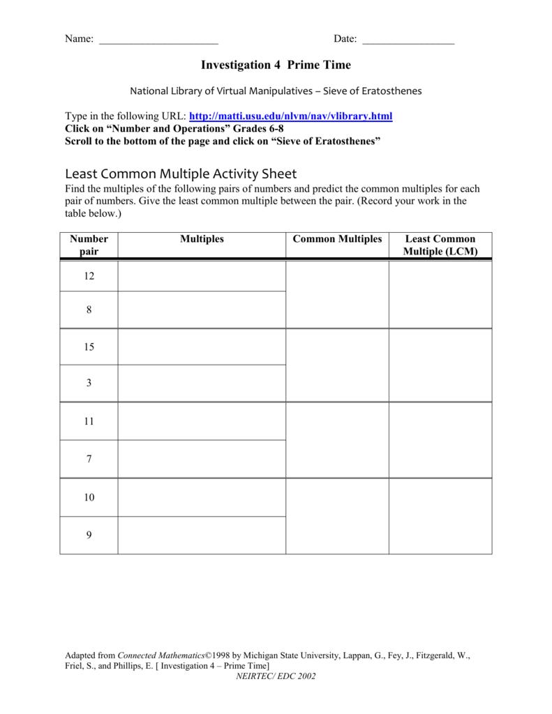 Least Common Multiple Activity Sheet