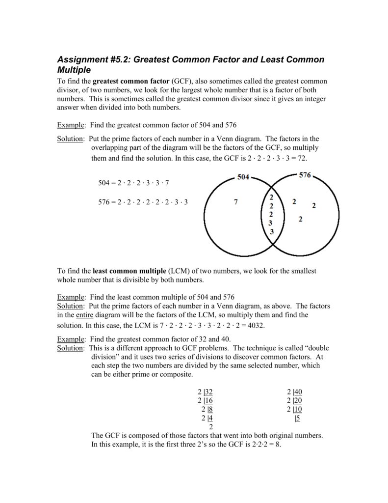 worksheet Gcf Problems assignment 5 2 greatest common factor and least