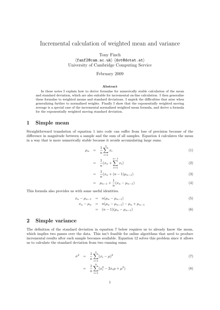 Incremental calculation of weighted mean and variance