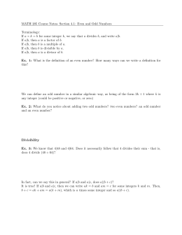 MATH 205 Course Notes- Section 4.1: Even and Odd Numbers