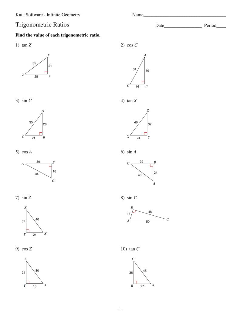 Worksheets Tangent Ratio Worksheet trigonometric ratios