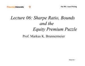 Lecture 06: Sharpe Ratio, Bounds Sharpe Ratio, Bounds and the
